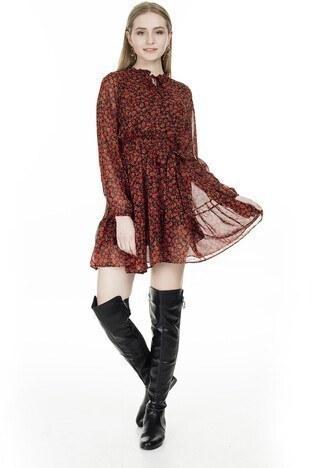 Lela - Lela Çiçek Desenli Şifon Mini Bayan Elbise 626519 KIRMIZI