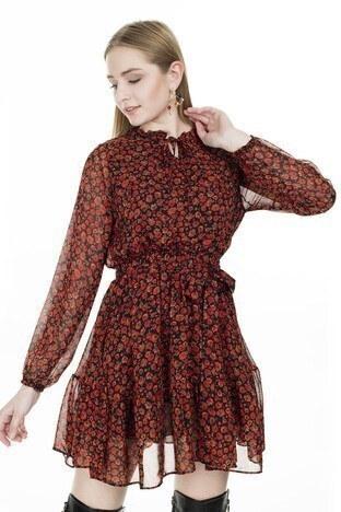 Lela Çiçek Desenli Şifon Mini Bayan Elbise 626519 KIRMIZI