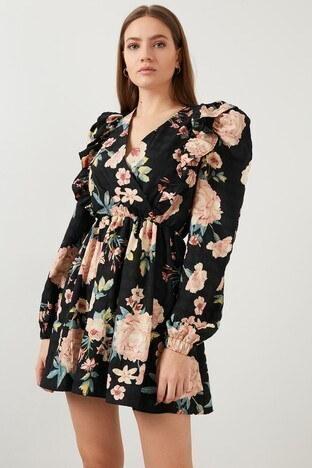 Lela Çiçekli V Yaka Karpuz Kol Mini Bayan Elbise 23421Y31412 SİYAH