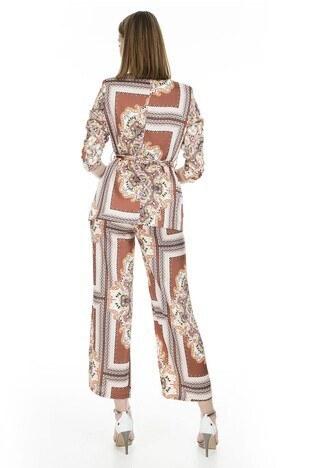 Lela Desenli Kemerli Bol Paça Bayan Pantolon 7968 KİREMİT