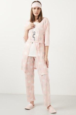 Lela - Lela Desenli Pamuklu 5Li Pijama Takımı Bayan 5 Li Pijama Takımı 59812030 PEMBE