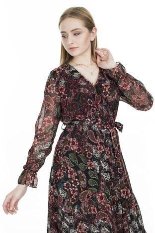 Lela Desenli V Yaka Midi Bayan Elbise 626510C BORDO