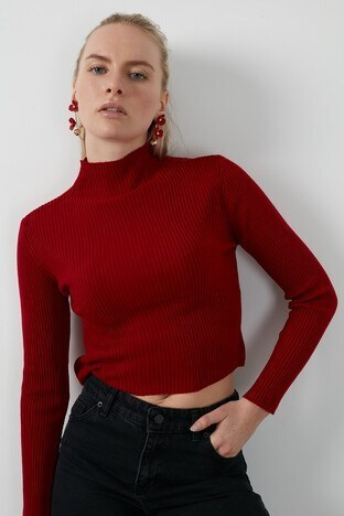 Lela - Lela Dik Yaka % 100 Soft Akrilik Crop Bayan Kazak 4615011 KIRMIZI