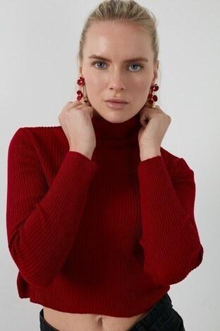 Lela Dik Yaka % 100 Soft Akrilik Crop Bayan Kazak 4615011 KIRMIZI