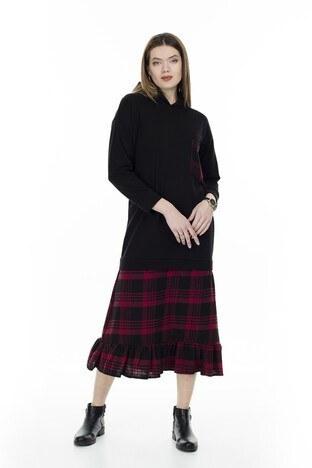 Lela Ekose Desenli Uzun Bayan Elbise 5202899 SİYAH-KIRMIZI