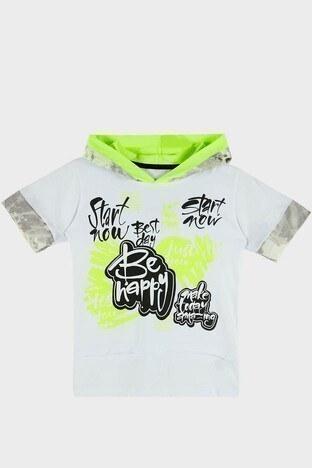 Lela - Lela Baskılı Kapüşonlu % 100 Pamuk Erkek Çocuk T Shirt 08574 BEYAZ