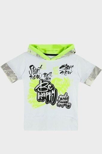 Lela Baskılı Kapüşonlu % 100 Pamuk Erkek Çocuk T Shirt 08574 BEYAZ