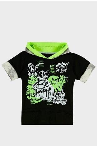 Lela - Lela Baskılı Kapüşonlu % 100 Pamuk Erkek Çocuk T Shirt 08574 SİYAH