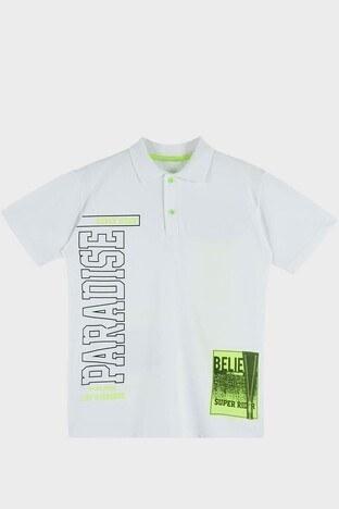 Lela - Lela Baskılı % 100 Pamuk Düğmeli Polo Erkek Çocuk T Shirt 08860 BEYAZ