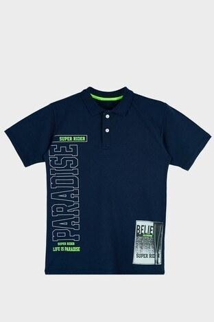Lela - Lela Baskılı % 100 Pamuk Düğmeli Polo Erkek Çocuk T Shirt 08860 LACİVERT