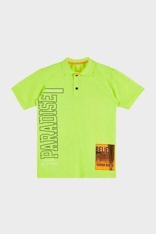 Lela - Lela Baskılı % 100 Pamuk Düğmeli Polo Erkek Çocuk T Shirt 08860 NEON-SARI