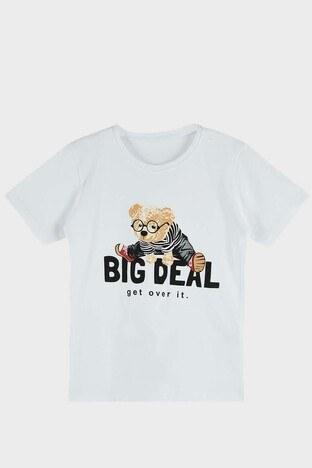 Lela - Lela Baskılı Bisiklet Yaka Pamuklu Erkek Çocuk T Shirt 5923213 BEYAZ