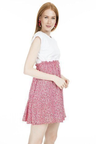 Lela Eteği Desenli Bayan Elbise MK19S283247 KIRMIZI