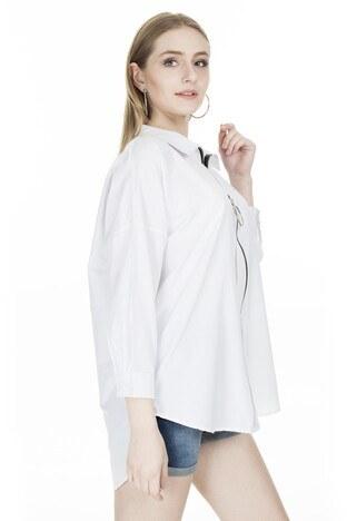 Lela Fermuarlı Bayan Gömlek 5202580 BEYAZ