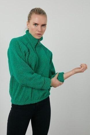 Lela - Lela Fermuarlı Dik Yaka Beli Lastikli Yumuşak Peluş Bayan Sweat 5203127 YEŞİL
