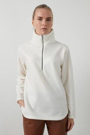 Lela - Lela Fermuarlı Dik Yaka Yumuşak Polar Bayan Sweat 5203124 BEYAZ
