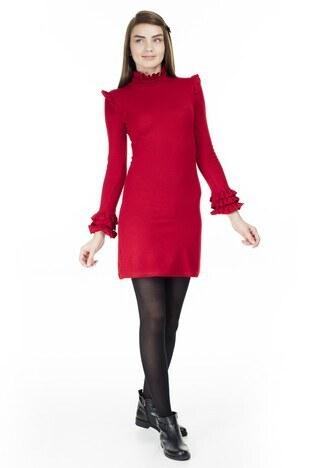 Lela - Lela Fırfır Detaylı Dik Yaka Bayan Elbise 5452071 KIRMIZI
