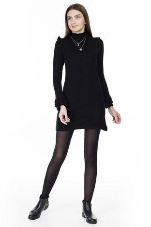 Lela - Lela Fırfır Detaylı Dik Yaka Bayan Elbise 5452071 SİYAH