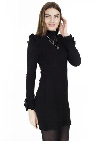 Lela Fırfır Detaylı Dik Yaka Bayan Elbise 5452071 SİYAH