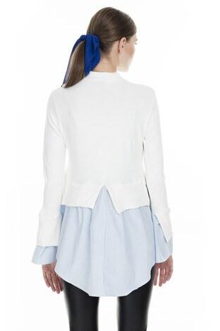 Lela Gömlek Detaylı Bayan Kazak 54511033K BEYAZ