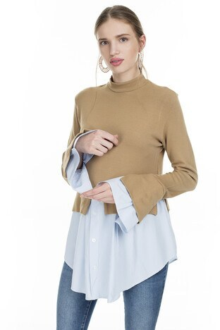 Lela Gömlek Detaylı Bayan Kazak 54511033K VİZON