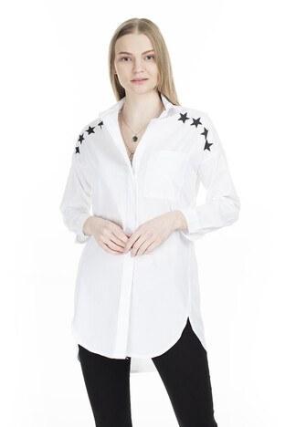 Lela - Lela Gömlek Yaka Yıldız Baskılı Bayan Tunik 551G224120 BEYAZ
