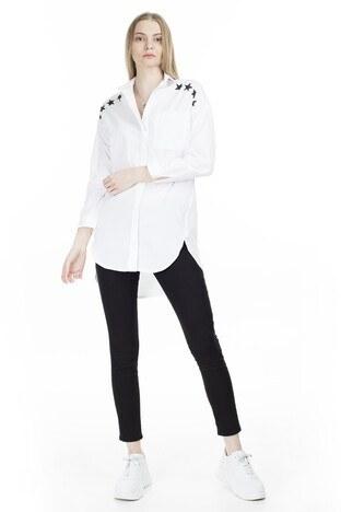 Lela Gömlek Yaka Yıldız Baskılı Bayan Tunik 551G224120 BEYAZ