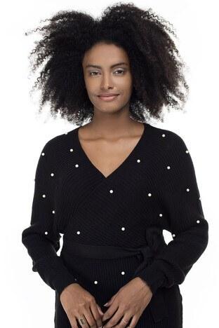 Lela İnci Detaylı Fitilli Mini Bayan Elbise 5452003 SİYAH
