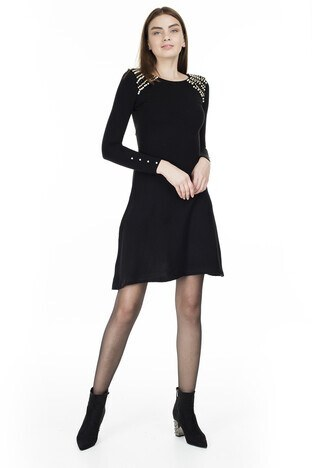 Lela - Lela İnci Detaylı Uzun Kollu Bayan Elbise 545ES133 SİYAH