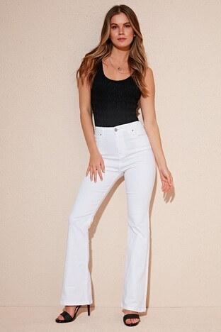 Lela - Lela Pamuklu Normal Bel Flare Jeans Bayan Kot Pantolon 5871938 BEYAZ