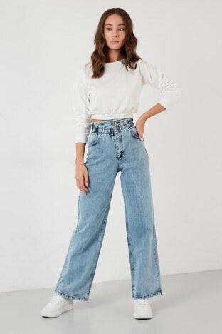 Lela Pamuklu Yüksek Bel Wide Leg Jeans Bayan Kot Pantolon 5876042 AÇIK MAVİ