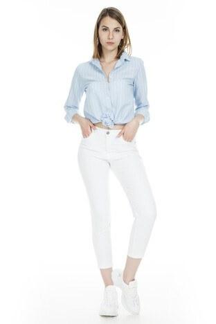 Lela - Lela Jeans Bayan Kot Pantolon 8522F413NICOLE BEYAZ