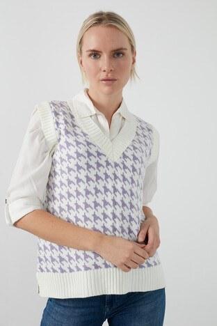 Lela Kaz Ayağı Desenli V Yaka % 100 Soft Akrilik Bayan Süveter 4615058 Ekru-Lila
