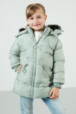 Lela Yakası Suni Kürklü Kapüşonlu Şişme Kız Çocuk Mont 5766034 MİNT