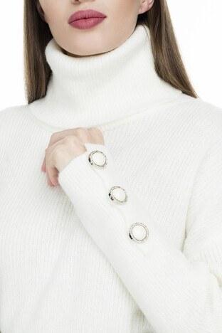 Lela Kolları Düğme Detaylı Bayan Kazak 54511065K EKRU