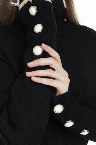 Lela Kolları Düğme Detaylı Bayan Kazak 54511065K SİYAH