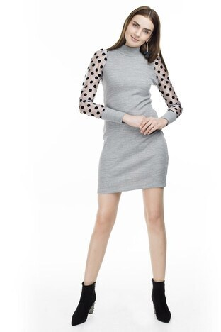 Lela - Lela Kolları Puantiyeli Örme Bayan Elbise 54520117V GRİ