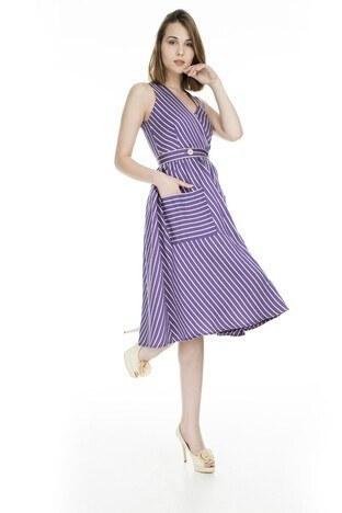 Lela Kruvaze Yaka Bayan Elbise 61047 MOR