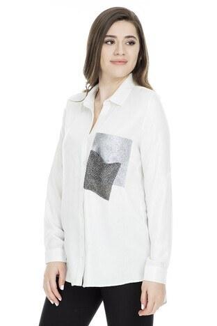 Lela Küçük Taş Detaylı Bayan Gömlek 50276 EKRU