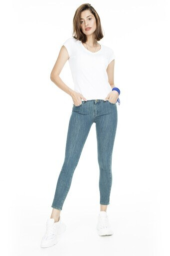 Lela Normal Bel Skinny Jeans Bayan Kot Pantolon 8507F3432PAULA MAVİ