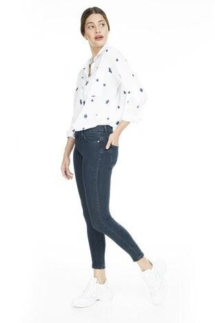 Lela - Lela Normal Bel Skinny Jeans Bayan Kot Pantolon 8507F343PAULA LACİVERT