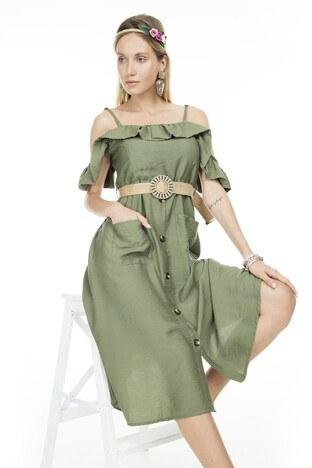 Lela - Lela Omuz Detaylı Midi Bayan Elbise 51919120 HAKİ