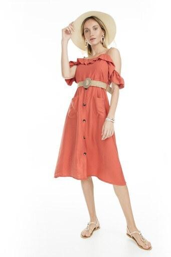 Lela Omuz Detaylı Midi Bayan Elbise 51919120 MERCAN