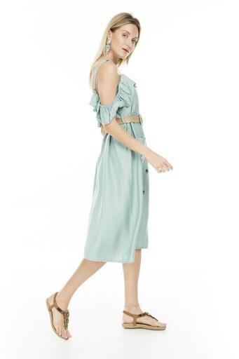 Lela Omuz Detaylı Midi Bayan Elbise 51919120 MİNT