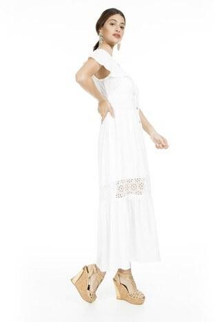 Lela - Lela Omzu Açık Maxi Bayan Elbise 51919064 EKRU