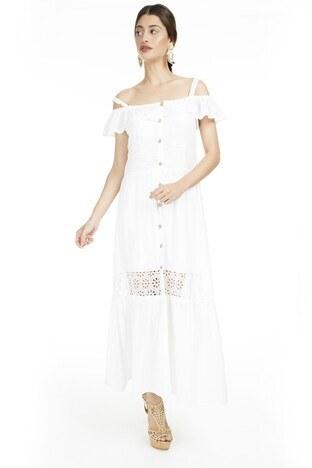 Lela Omzu Açık Maxi Bayan Elbise 51919064 EKRU