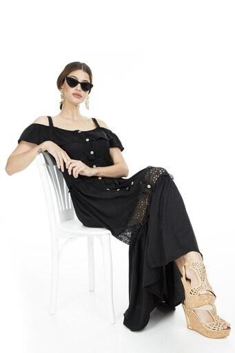 Lela Omzu Açık Maxi Bayan Elbise 51919064 SİYAH