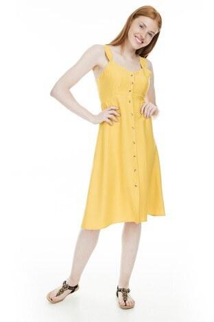 Lela Önü Düğmeli Bayan Elbise 23430890 HARDAL