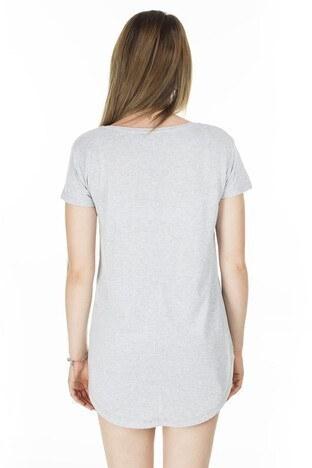 Lela Önü Kısa Arkası Uzun Bayan T Shirt 5411014 GRİ