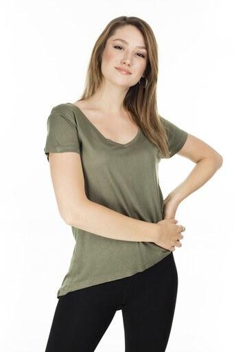 Lela Önü Kısa Arkası Uzun Bayan T Shirt 5411014 HAKİ